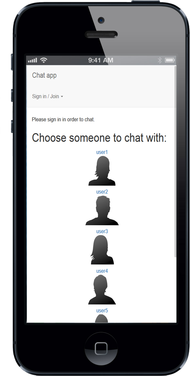Chat application at mobile